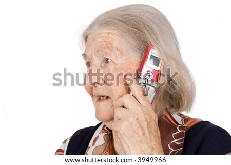 The grandmother, speaks by phone on an isolated background