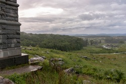 The granite monument to the 91st Pennsylvania Volunteers on the summit of Little Round Top in Gettysburg National Battlefield.