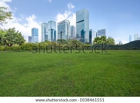 The grass and the city in Shenzhen, China