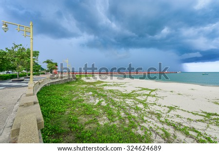 The grass at the beach , fishing pier . Boats , fishing , windy, cloudy weather , rain landscape , Tropical beach at cloudy weather , Ipomoea