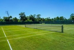 The grass tennis courts  ready for summer