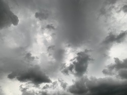 The gray Nimbostratus Clouds were scattered in the sky and there will be heavy rain at Thailand. no focus