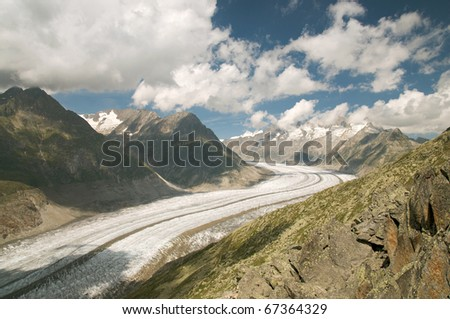 The Great Aletsch Glacier (part of the Jungfrau-Aletsch Protected Area which was declared a UNESCO World Heritage site in 2001)