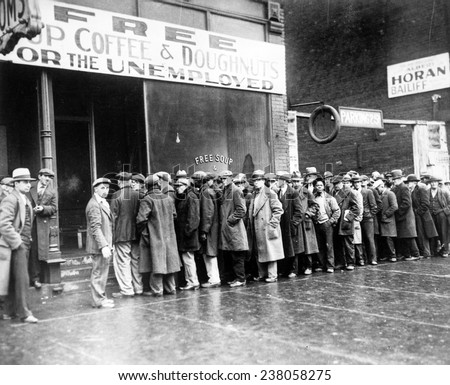 The Great Depression Unemployed men queued outside a soup kitchen opened in Chicago by Al Capone The storefront sign reads 'Free Soup