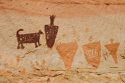 The Great Gallery, found in Horseshoe Canyon, contains incredible pictographs (painted art) and a few petroglyphs (pecked into the rock). These are amazing examples of prehistoric Native American art.