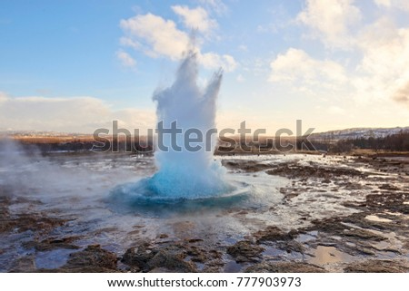 The Great Geysir exploding in the Golden Circle, iceland #777903973
