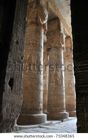 the great hypostyle hall at the ancient Egyptian fertility and love temple of the goddess Hathor at Dendera, in Egypt