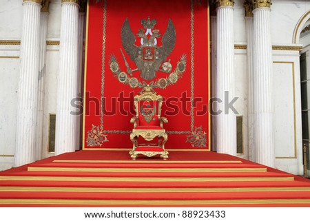 The great imperial throne in winter palace, Saint Petersburg, Russia #88923433