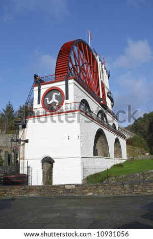 The Great Laxey Wheel on the Isle of Man was built in 1854 to pump water from the Great Laxey Mine.