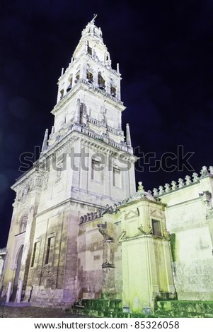 The great mosquee or mezquita wall at night in Cordoba, Spain