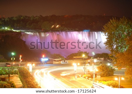 The Great Niagara Falls at night, lit up by colored lights in Canada 1