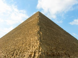 The Great Pyramid of Giza (or Khufu's Pyramid, or Pyramid of Cheops). One of the Wonders of the Antique World. Location: El-Giza plateau. Cairo, Egypt.