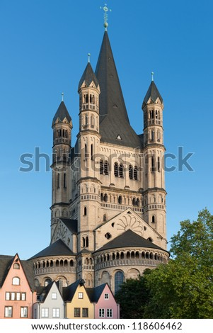 The Great Saint Martin Church in Cologne, Germany.