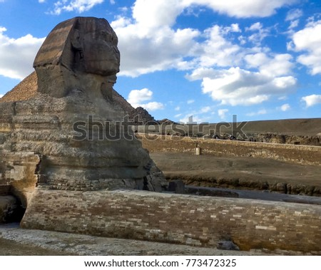 The Great Sphinx. Egyptian Sphinx. The seventh wonder of the world. Ancient megaliths. #773472325