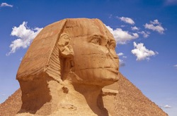 The Great Sphinx of Giza, a limestone statue on the west bank of the Nile in Giza, Egypt