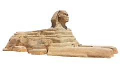 The Great Sphinx of Giza isolated on white background. Greater Cairo, Egypt.