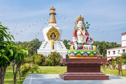 The Great stupa in Mindrolling Monastery in Dehradun, India is 185 feet tall and 100 square feet in width. It is largest stupa in the world.