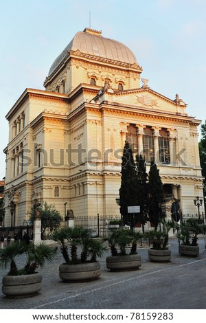 The Great Synagogue of Rome is the largest synagogue in Rome located in the Jewish Quarter (Roman Jewish Ghetto) in Rome, Italy. - stock photo