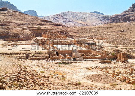 The Great Temple Complex, one of the the major archaeological and architectural monuments of central Petra. Ancient city of Petra, Jordan