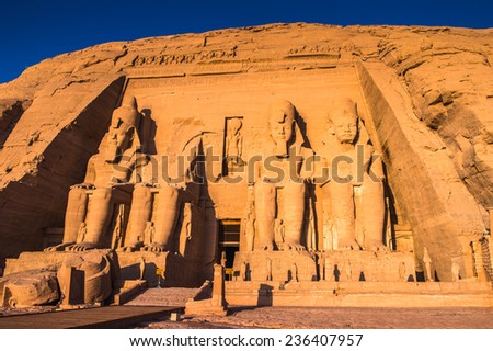 The Great Temple of Ramesses II on the sunrise, Abu Simbel, Egypt #236407957