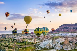 The great tourist attraction of Cappadocia - balloon flight. Cappadocia is known around the world as one of the best places to fly with hot air balloons. Goreme, Cappadocia, Turkey.