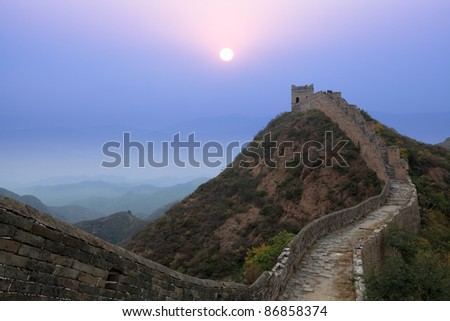 the great wall of china at morning in autumn