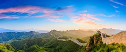The Great Wall of China at sunrise,panoramic view