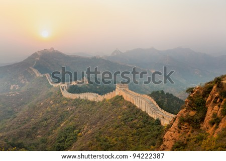 the great wall winding in ridge at sunrise