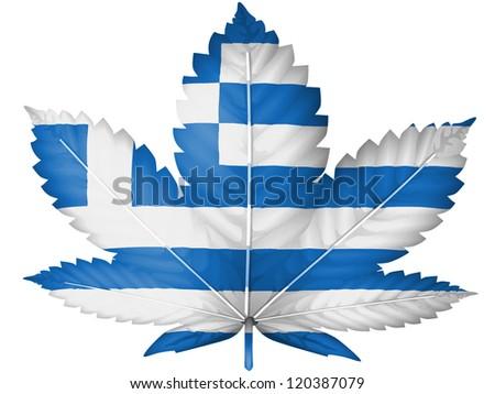 The Greek flag painted on  cannabis or marijuana leaf - stock photo