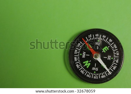 The Green background and traditional black compass