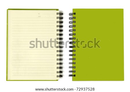 The Green cover of Note book Horizontal