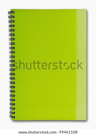 The green cover of Note book vertical