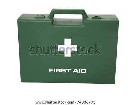 The green first aid box in white background.