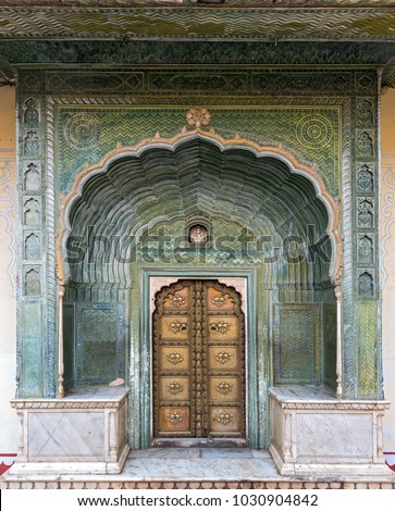 The Green Gate or Spring Gate at the City Palace of Jaipur in Rajasthan India