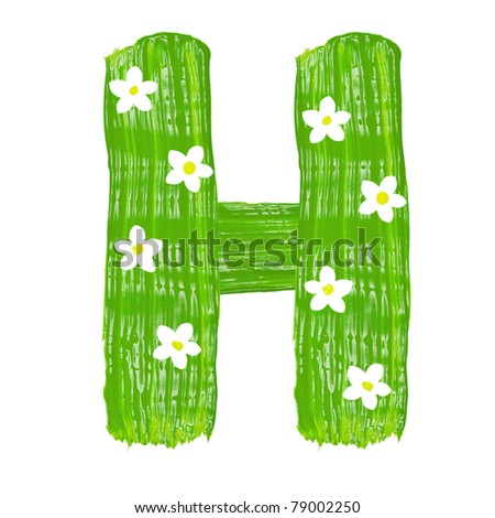 The green letters H drawn by paints with white blossom