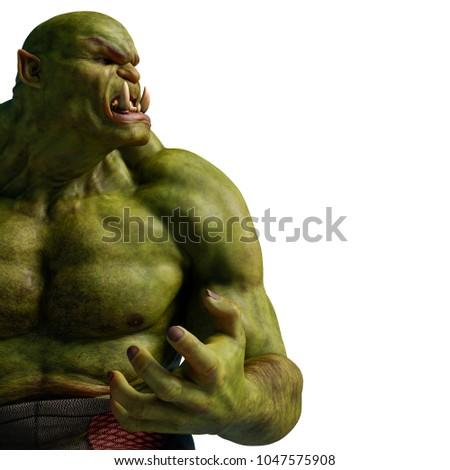 Stock Photo the green ogre 3d illustration
