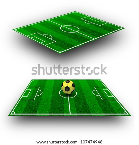 The green soccer field with lines in perspective geometry