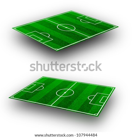 The green soccer field with lines on perspective geometry