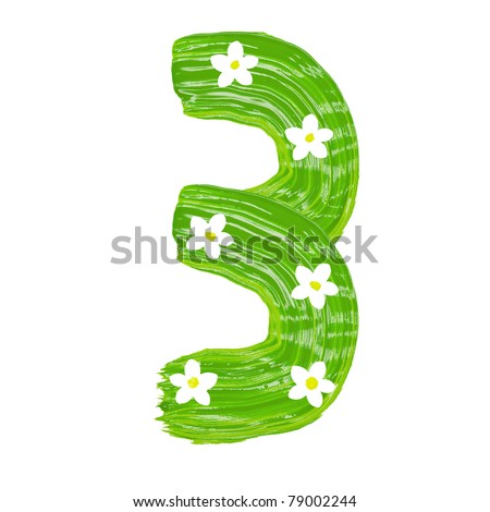 The green three drawn by paints with white blossom
