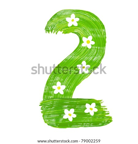 The green two drawn by paints with white blossom