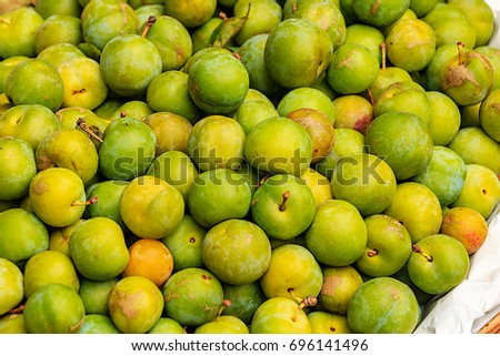 The greengages are a group of cultivars of the common European plum. The first true greengage was bred in Moissac, France, from a green-fruited wild plum ('Canerik') originally found in Asia Minor