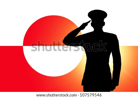 The Greenland flag and the silhouette of a soldier's military salute - stock photo