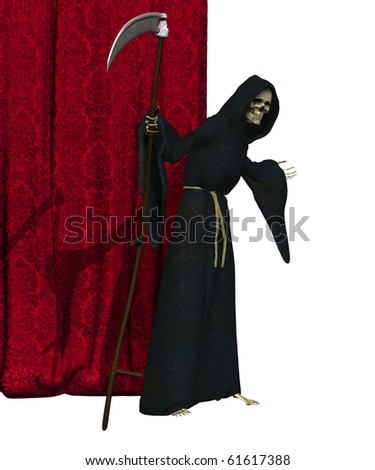 The Grim Reaper beckons you to to step beyond the final curtain - 3D render.