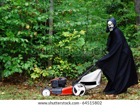The grim Reaper mowing the lawn as part of the Honeydew list before preparing to harvest his crops on Halloween with room for your text
