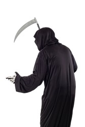 The grim reaper or death halloween costume isolated on a white background.  The skeleton is wearing a hooded black robe. Side view in profile for composites.