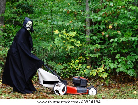 The Grim Reaper performing the last task on the Honeydew list of mowing the lawn on halloween before he can go harvest his crops with room for your text.
