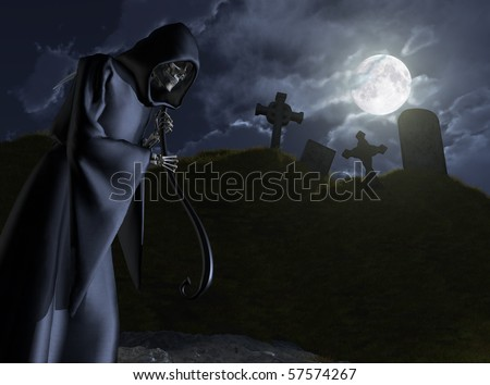 The Grim Reaper takes a moonlit stroll through a small, abandoned cemetery - 3D render.
