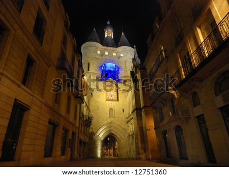 The Grosse Cloche in Bordeaux by night