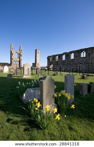 The grounds of the ruined cathedral in St Andrews, Scotland.