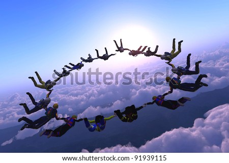 The group of athletes in the sky.